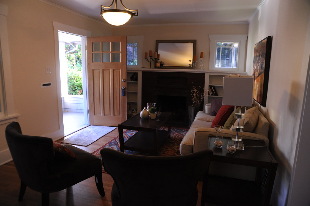 Open Door Of A Staged House, Porch, Living Room, Chairs, S ...