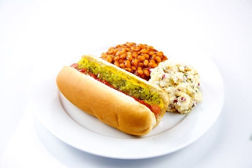 Hot Dog with Baked Beans and Potato Salad | by TheCulinaryGeek