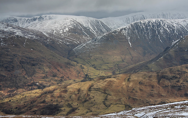 View east from Birks, above Patterdale, Lake District National Park, Cumbria, UK