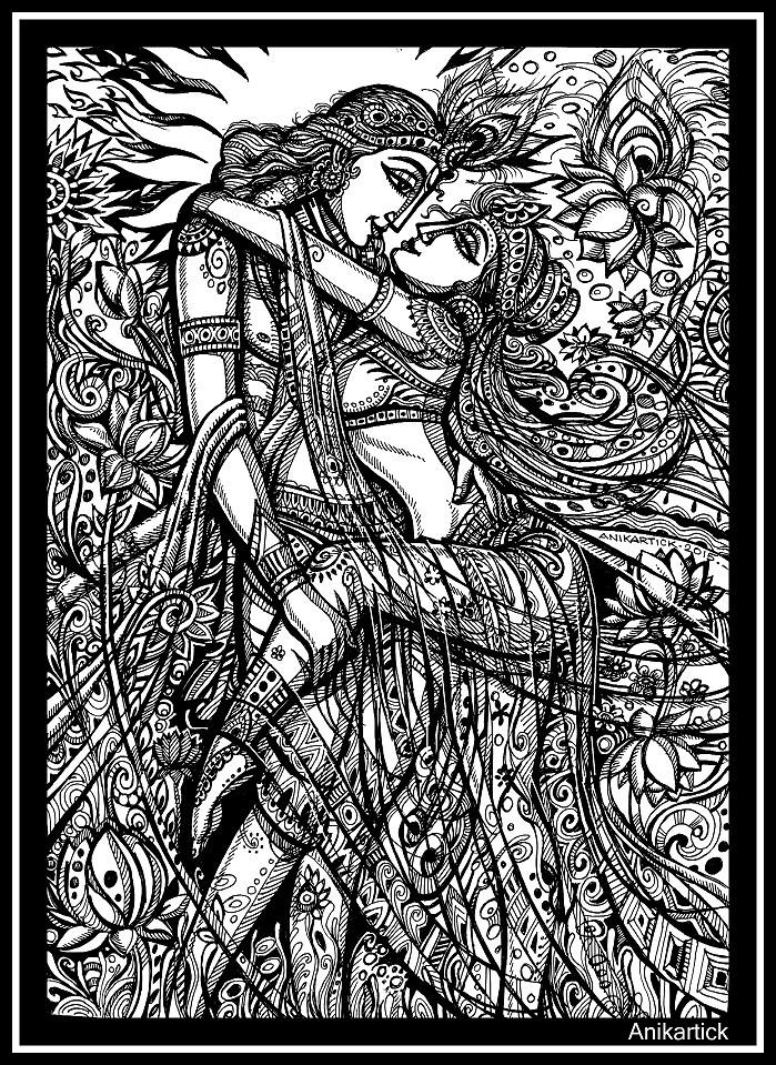 Divine Lovers - Radha - Krishna Art - Anikartick | Krishna