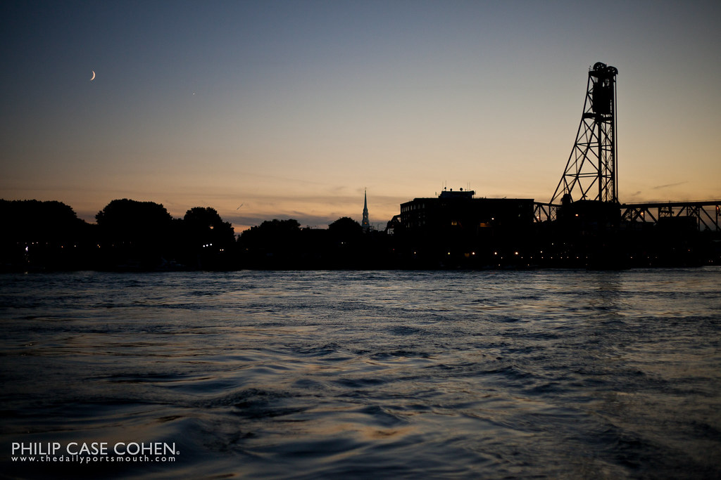 Crescent Moon over Portsmouth by Philip Case Cohen