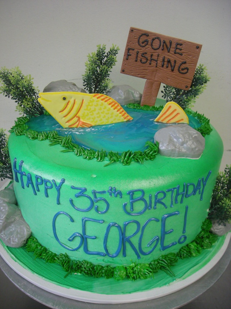 Terrific Gone Fishing 300 Fishing Theme Birthday Cake Edible Fis Flickr Personalised Birthday Cards Cominlily Jamesorg