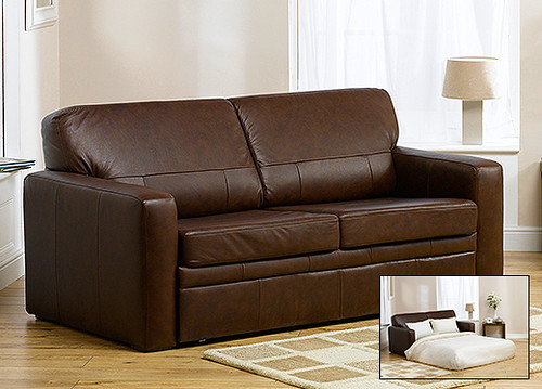 Sardinia Sofa Bed in Brown Leather