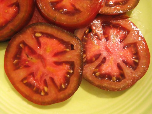 heirloom tomatoes, about to become salad | by colorkitten