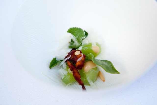 """Cucumbers in miso """"bagna cauda"""", whipped nasturtium flower, square roots & coffee, marcona almonds, Jeremy Fox"""