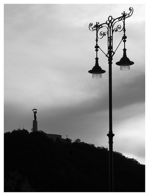 Budapest - old lamp witth the Gellért mountain