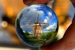 A Dutch windmill, Amsterdam ? The Netherlands. Crystal ball