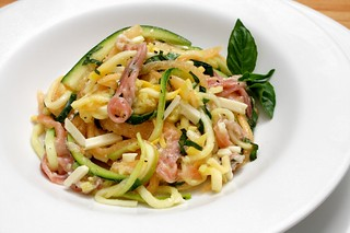 raw yellow squash and zucchini spaghetti with prosciutto basil and melon | by aarn!