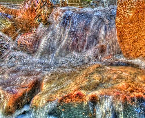 sunset water fountain waterfall rocks patterns grunge hdr goldenhour cs4 flowingwater photomatixpro topazlabs lsuhscshreveport feistweillercancercenter zadeckmemorialgarden