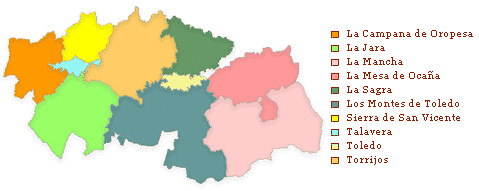 Mapa Provincia De Toledo Turismo.Comarcas De La Provincia De Toledo Mapa De Las Comarcas De