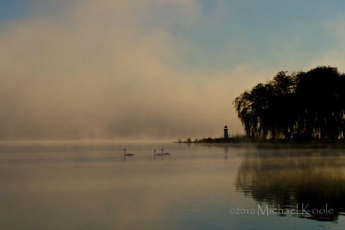 morning mist water sunrise michael swan michigan olympus webs wabasislake westmichigan kentcounty c720 koole michaelkoole oakfieldtownship