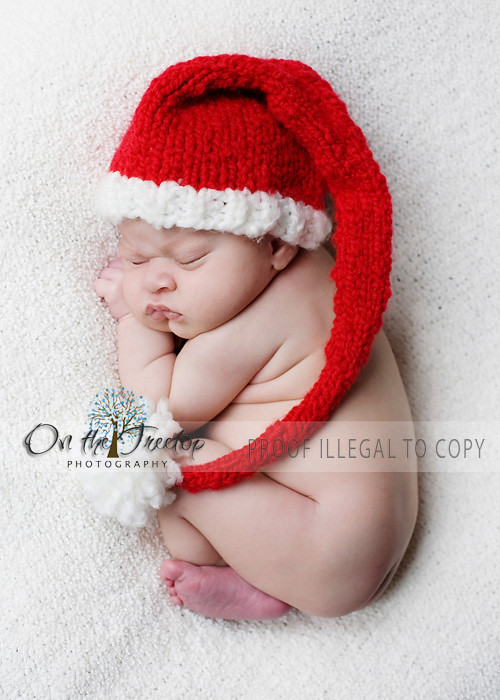 1d7081a7014b8 ... Custom Knit Red and White Long Stocking Christmas Santa Hat with Pompom  for Newborn and Baby