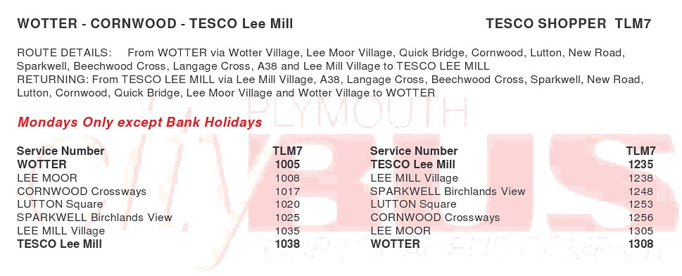 Tesco Free Bus Tesco Bus Timetable From 18 Jan 2010