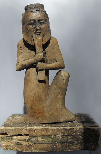 grave guard with mask (guest at RMO from british museum)