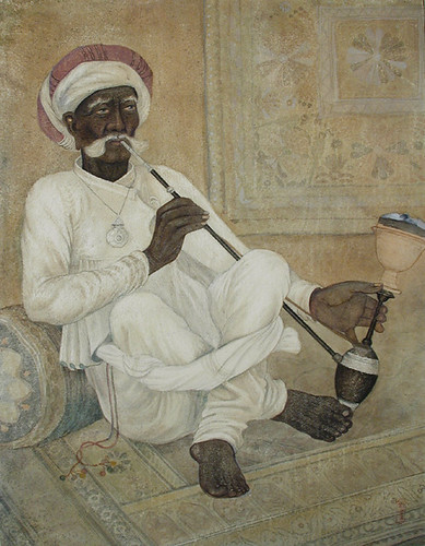 An old Rajput man smoking a hookah | by Asian Curator at The San Diego Museum of Art