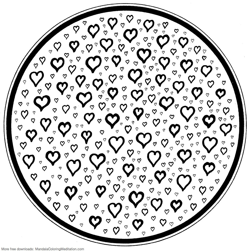 Printable Children Coloring Page Small Heart Mandala Flickr