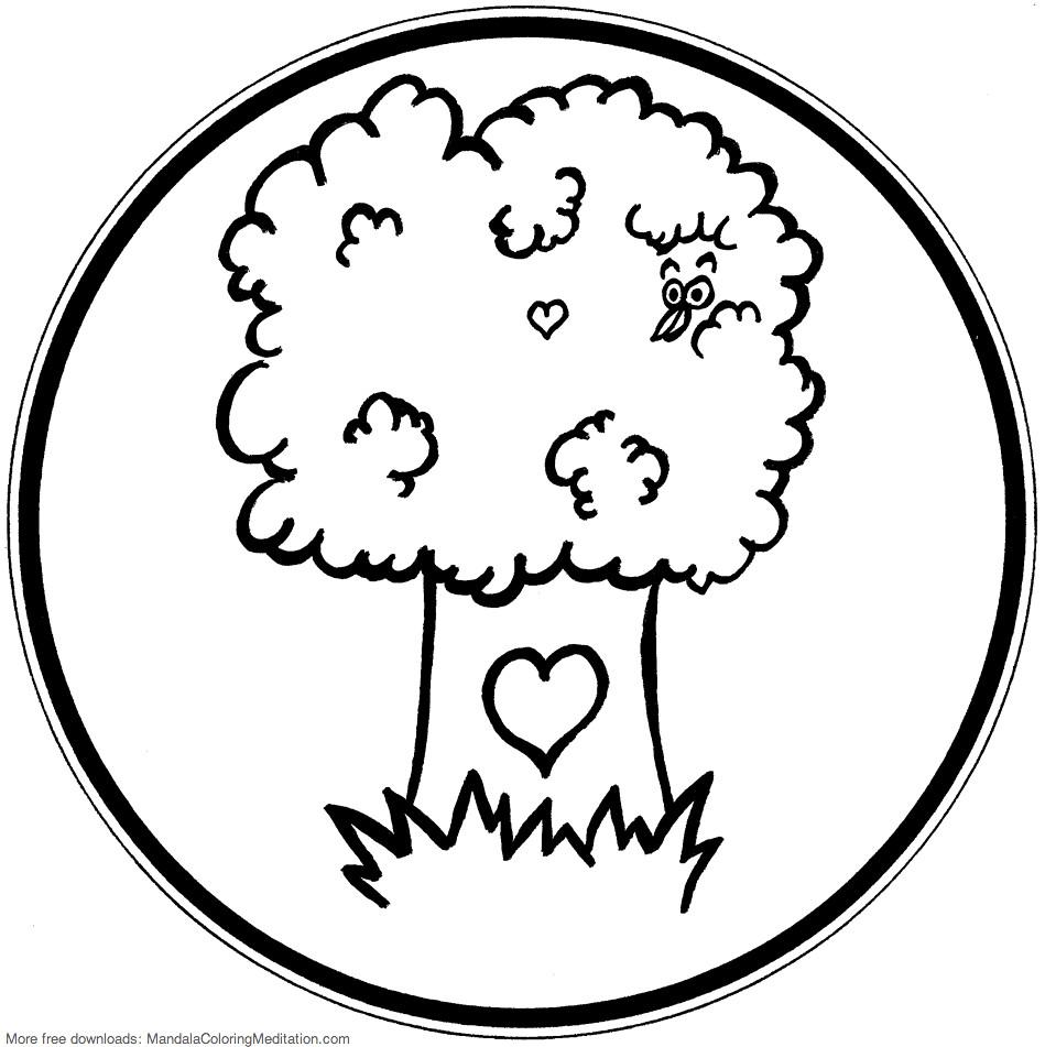 Printable children coloring page: tree mandala | A tree mand ...