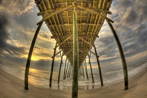 beach sunrise northcarolina historic fisheye hdr fishingpier tonemapped