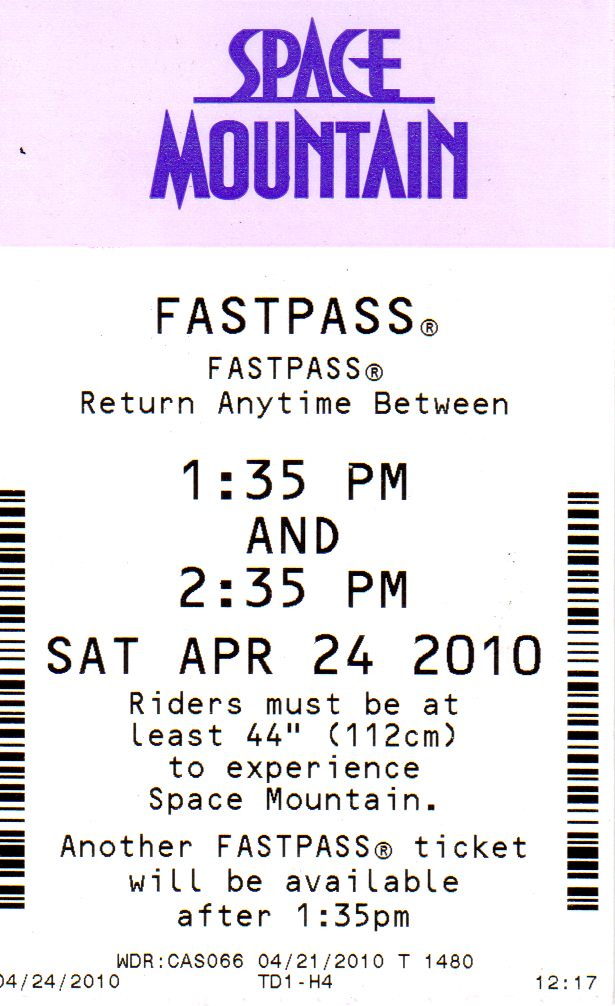 FastPass WDW Space Mountain Front