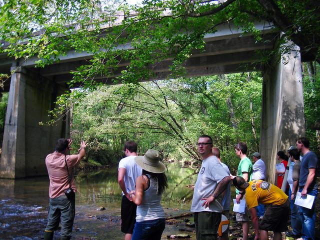 Hydrogeology class, Falling Water River, South Bunker Hill road bridge, Putnam / White Co, TN