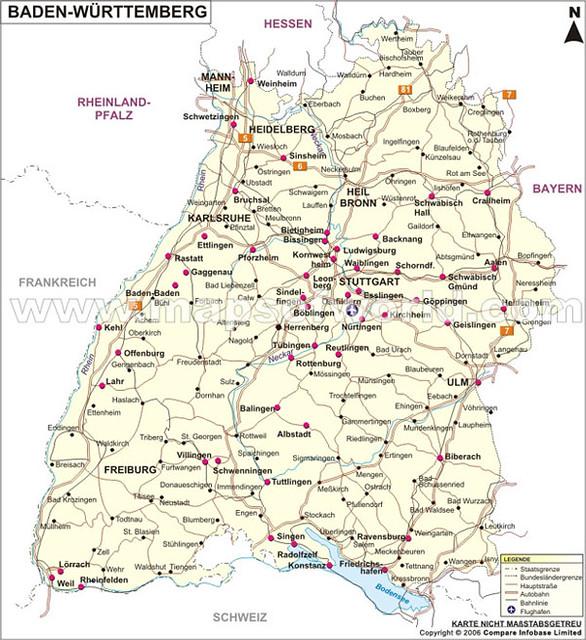 Landkarte Baden Wurttemberg Www Mapsofworld Com Deutsch De Flickr