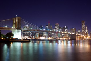 Night view of Brooklyn Bridge and Lower Manhattan from Empire Fulton Ferry State Park | by jiuguangw