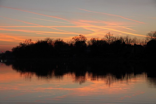 sunset orange sun lake reflection fall water clouds michigan flickraward platinumheartaward