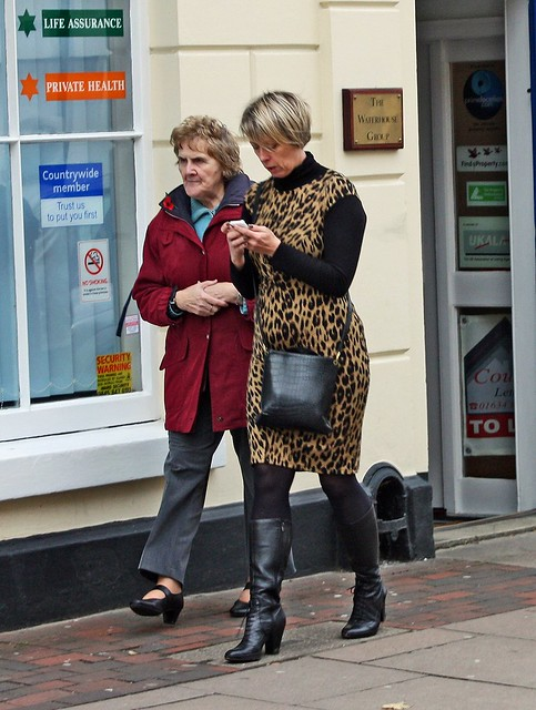 Rochester High Street - Nov 2010 - Candid Leopardskin Dress Mature