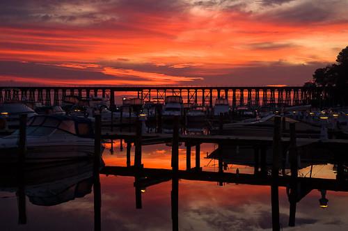 virginia neabsco sunrise bridge boat trestle railroad marina csx photo decor cloudy day