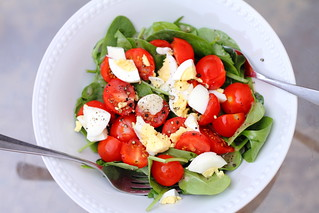 Spinach and Tomato Salad with Hard-Boiled Eggs | by arsheffield