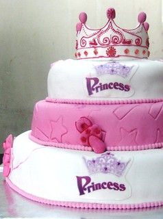 First Birthday Princess Pink White Fondant Covered 3 Tie
