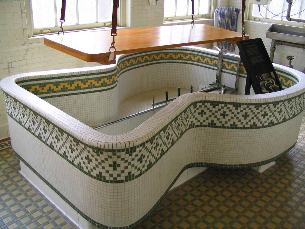 Hubbard Tub with a Wooden Patient Lift, Fordyce Bathhouse, Hot Springs National Park, Arkansas