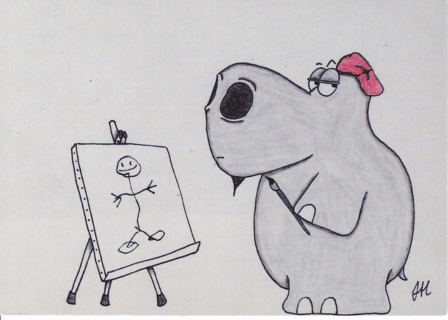 John Hagerty Hippo Art Postcard