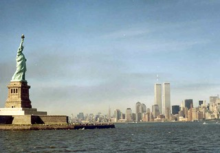Twin Towers and Statue of Liberty