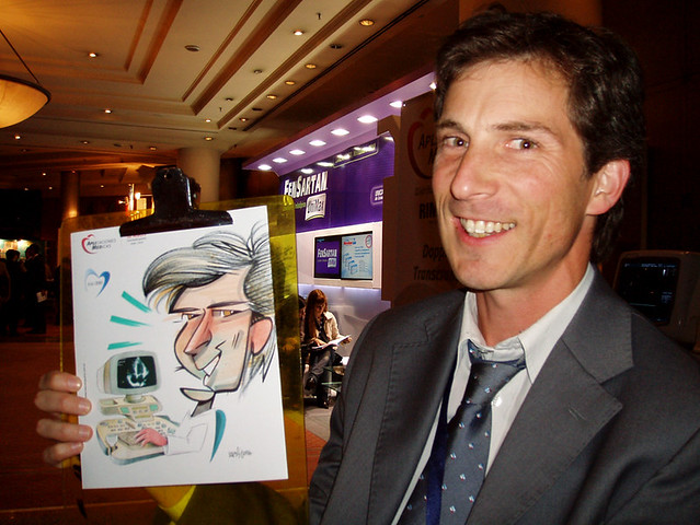 APLIMED, caricaturas en stands