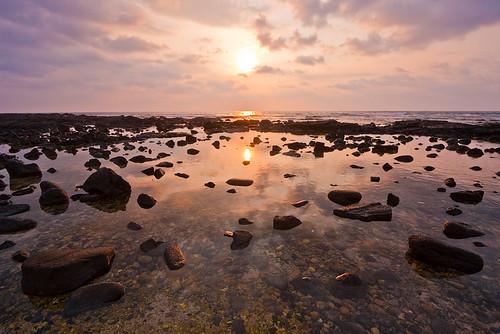 ocean sunset reflection beach water pool hawaii rocks shore coastline bigisland pinetrees kona 9008 kohanaiki