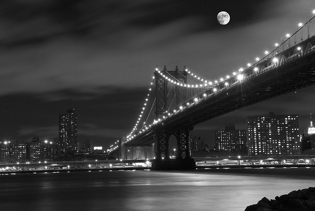 New York Nights B&W Full Moon