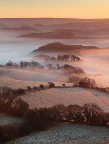 winter mist sunrise landscape dawn frost hills lee westdorset naturepoetry