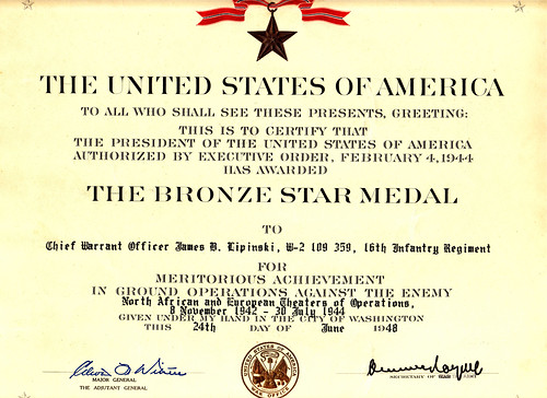 1948 - Jim's 1st Bronze Star for Action in North Africa & Europe, 16th Infantry Regiment