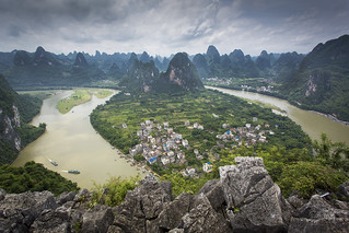 The Li River from Bird's View Pavilion in Xingping, China | by Tim van Woensel