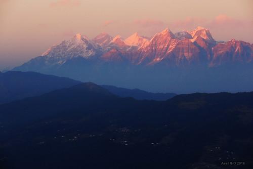 coucherdesoleil gonggila kyashar montagnes mounteverest nepal préci pattale solukhumbu thamserku