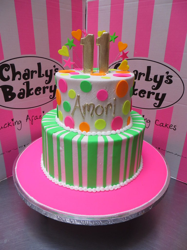 Fine 2 Tier Neon Themed 11Th Birthday Cake With Polka Dots St Flickr Birthday Cards Printable Giouspongecafe Filternl