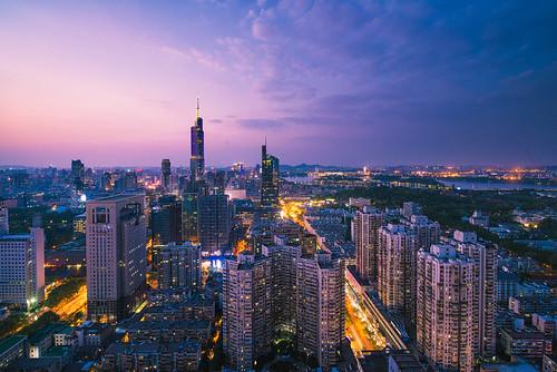 building architecture sky skyline city cityscape hdr dusk sunset twilight light tall landmark landscape tower cloud nanjing nikon nikond800 tamronsp1530f28