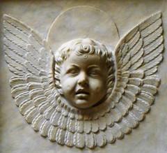 "Angel-Cherub (detail) - The so-called ""Succorpo"" or Carafa chapel in Naples Cathedral - Age: 1497-1508; Purchaser: Cardinal Oliviero Carafa; Architect: perhaps Donato Bramante; Sculptor: Tommaso Malvito and others; Dimension: m. 12x9"