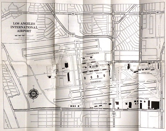 Vintage Automobile Club of Southern California (ACSC) map of Los Angeles International Airport (LAX) - 1962