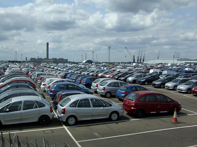 Imported cars at Sheerness-on-Sea