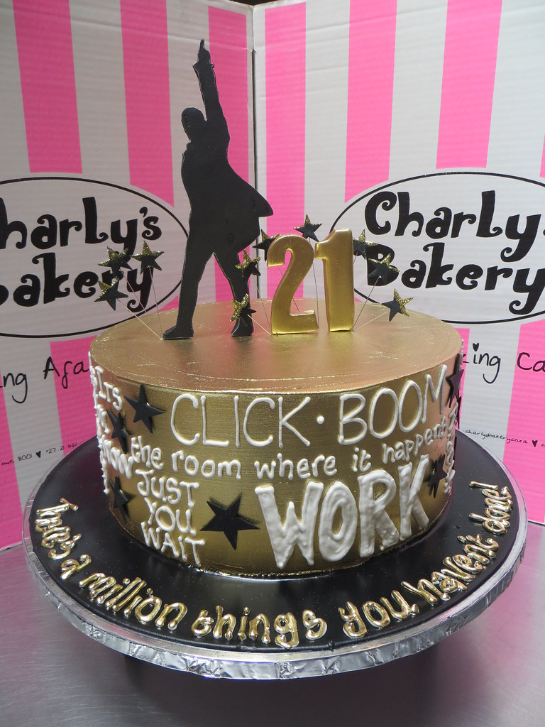 Enjoyable Single Tier Hamilton Musical Themed 21St Birthday Cake With 2D Funny Birthday Cards Online Alyptdamsfinfo