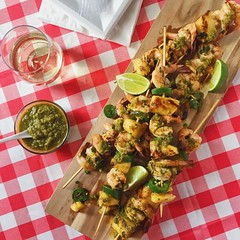 Shrimp Pineapple Jalapeno Skewers w/ Green Sauce #foodstyling #foodphotography for a #client #yum #lovemyjob #feedfeed #kristenhess @artfulgourmet #food52 #f52grams #nycfoodstylist #nycfoodphotographer #f52grams #instafood #foodstagram #newyork_ig #manhat