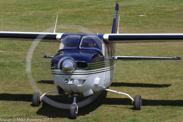 N210UK - 1978 build Cessna P210N Pressurized Centurion, taxiing to parking at Barton