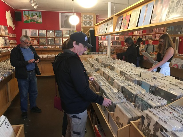 Don checking out the record selection at Red Cat Records